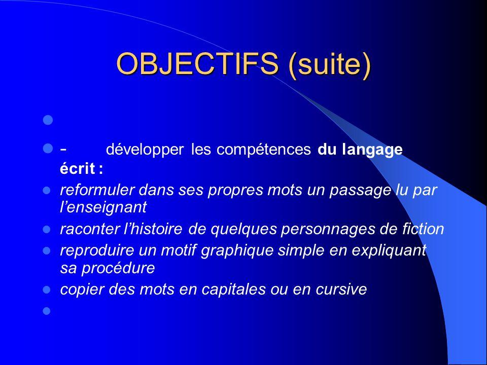 OBJECTIFS (suite) - développer les compétences du langage écrit :