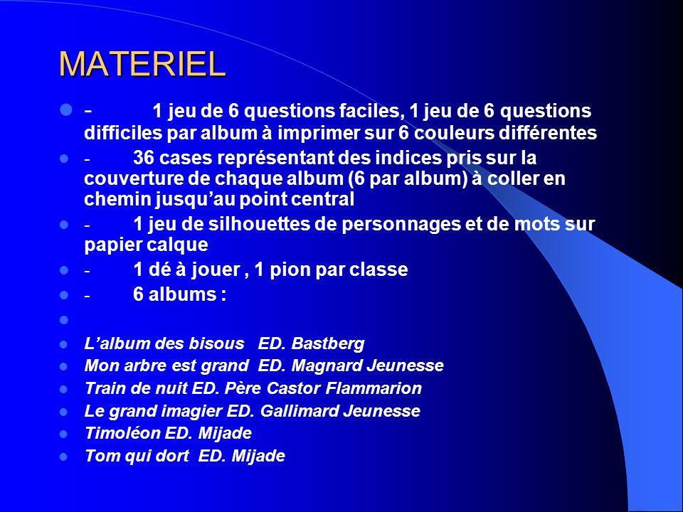 MATERIEL - 1 jeu de 6 questions faciles, 1 jeu de 6 questions difficiles par album à imprimer sur 6 couleurs différentes.