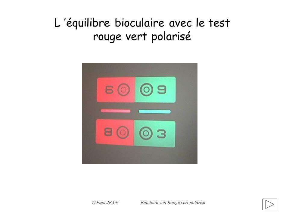 L 'équilibre bioculaire avec le test rouge vert polarisé