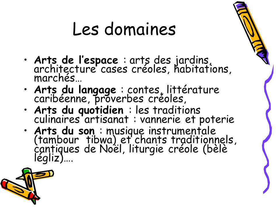 Les domaines Arts de l'espace : arts des jardins, architecture cases créoles, habitations, marchés…