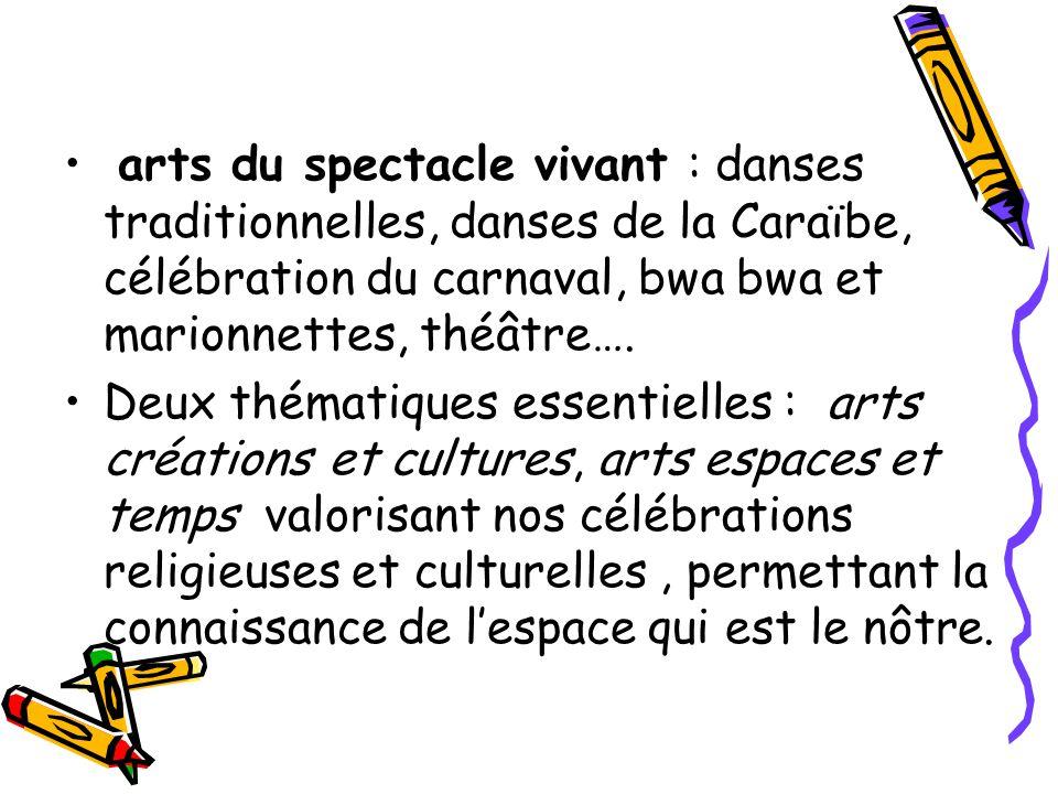 arts du spectacle vivant : danses traditionnelles, danses de la Caraïbe, célébration du carnaval, bwa bwa et marionnettes, théâtre….