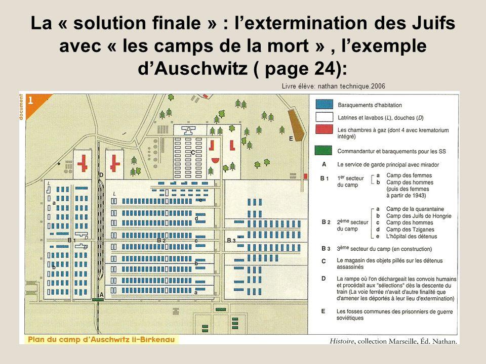 La « solution finale » : l'extermination des Juifs avec « les camps de la mort » , l'exemple d'Auschwitz ( page 24):