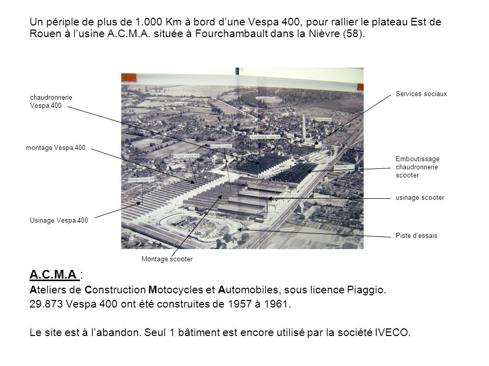 Un périple de plus de 1.000 Km à bord d'une Vespa 400, pour rallier le plateau Est de Rouen à l'usine A.C.M.A. située à Fourchambault dans la Nièvre (58).