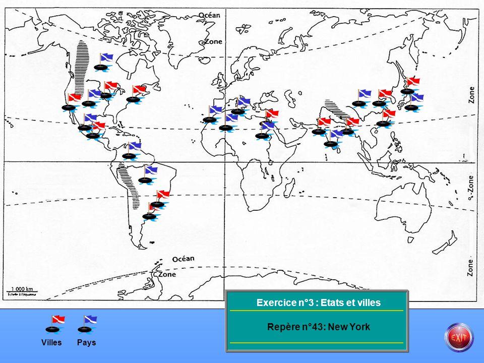 Exercice n°3 : Etats et villes