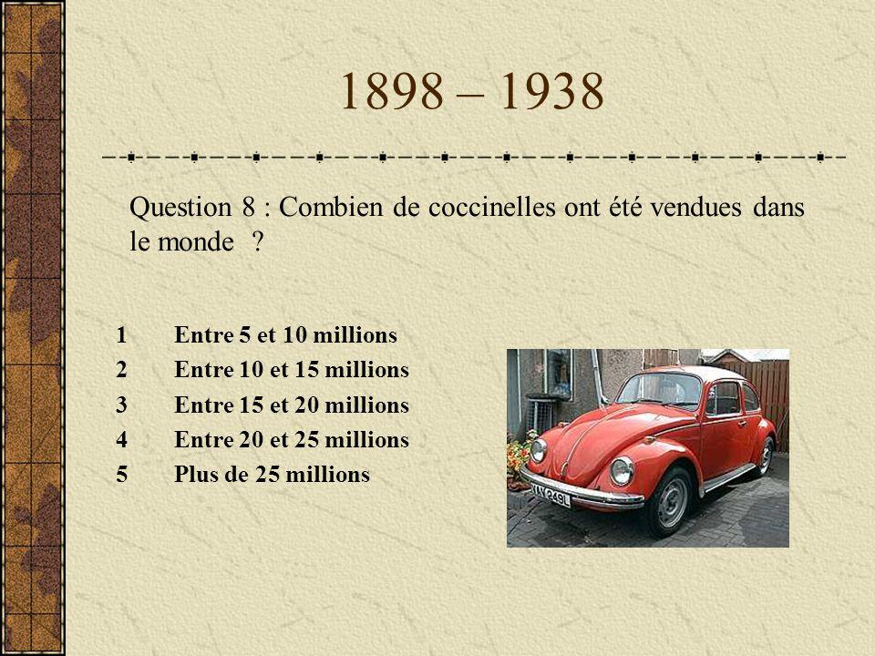 1898 – 1938 Question 8 : Combien de coccinelles ont été vendues dans le monde Entre 5 et 10 millions.
