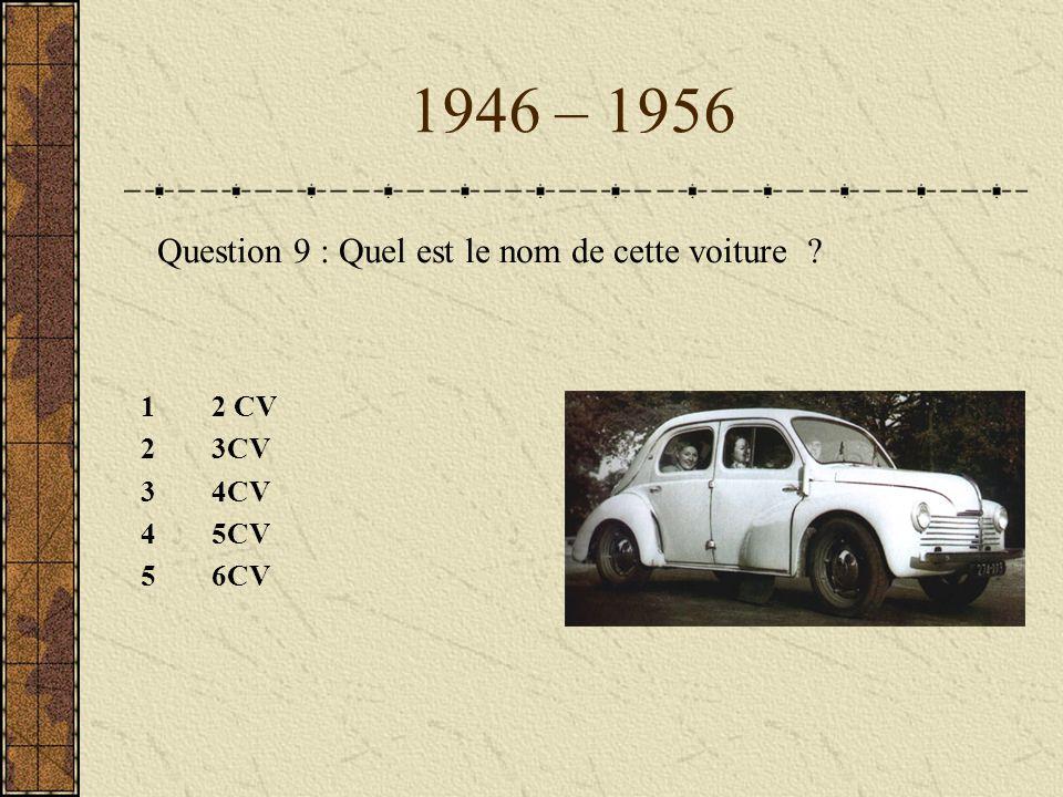 1946 – 1956 Question 9 : Quel est le nom de cette voiture 2 CV 3CV