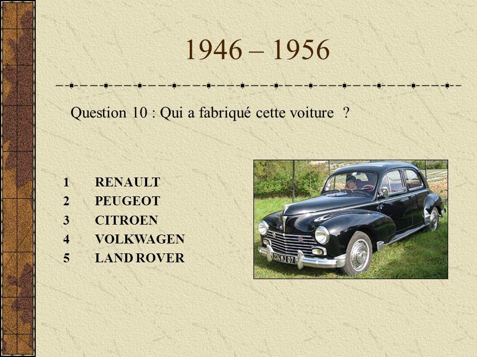 1946 – 1956 Question 10 : Qui a fabriqué cette voiture RENAULT