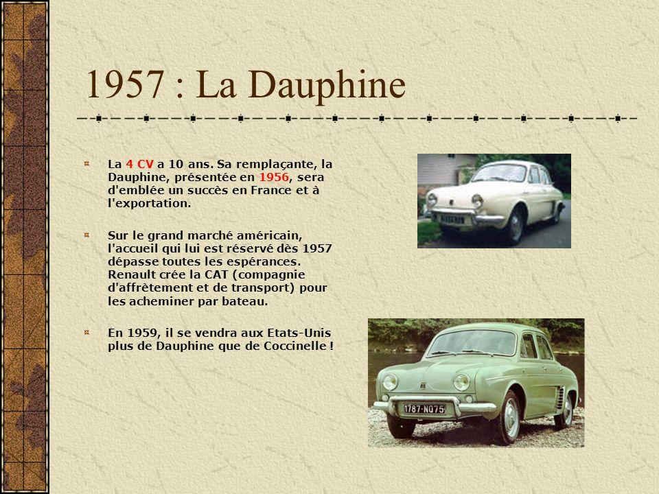 1957 : La Dauphine La 4 CV a 10 ans. Sa remplaçante, la Dauphine, présentée en 1956, sera d emblée un succès en France et à l exportation.