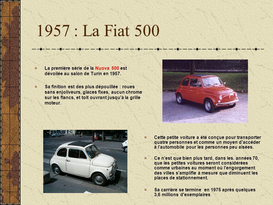 1957 : La Fiat 500 La première série de la Nuova 500 est dévoilée au salon de Turin en 1957.