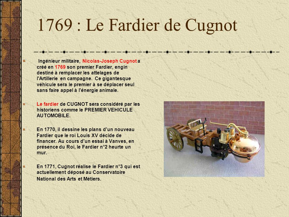 1769 : Le Fardier de Cugnot