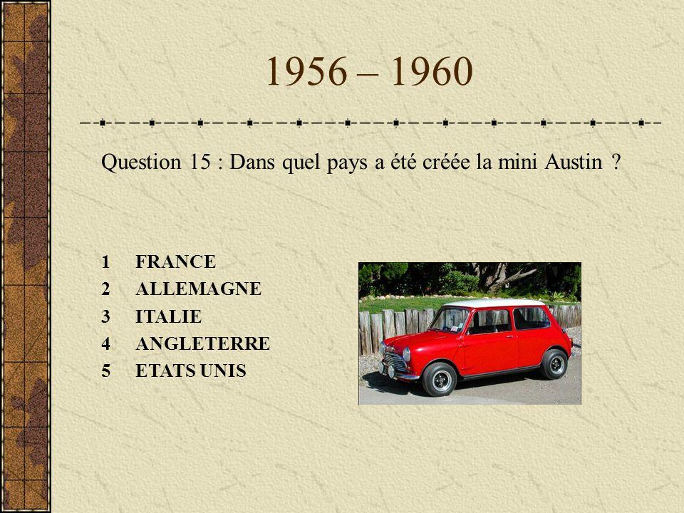 1956 – 1960 Question 15 : Dans quel pays a été créée la mini Austin