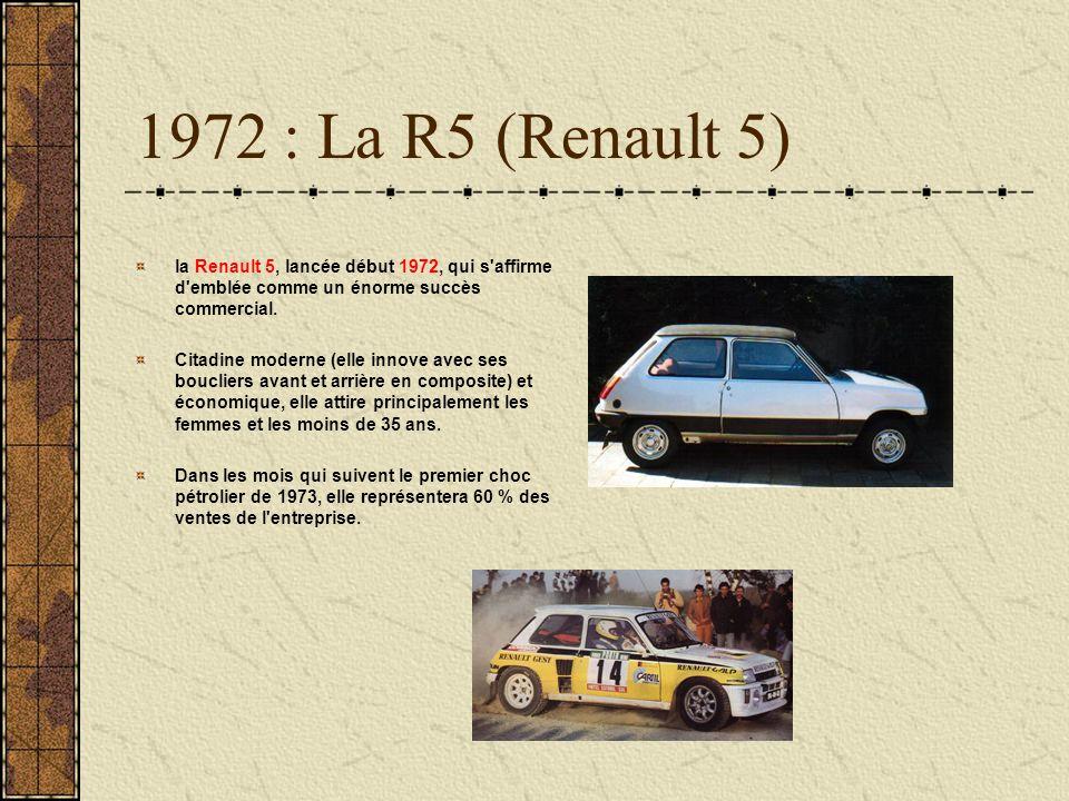1972 : La R5 (Renault 5) la Renault 5, lancée début 1972, qui s affirme d emblée comme un énorme succès commercial.