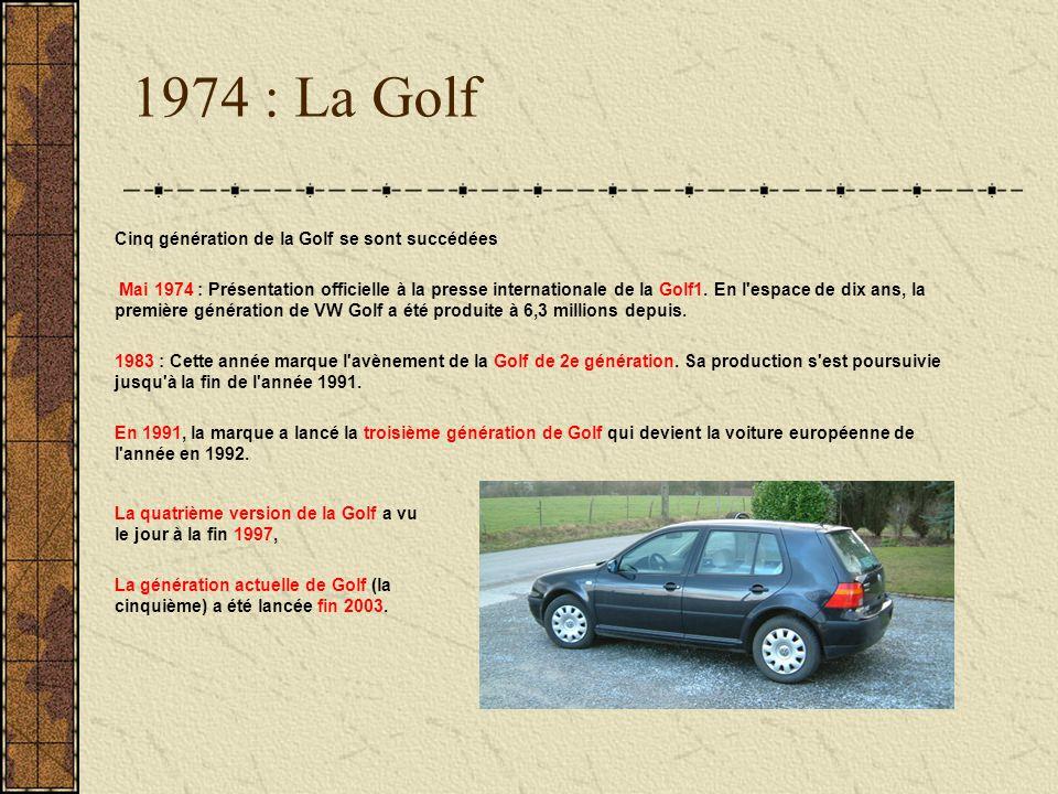 1974 : La Golf Cinq génération de la Golf se sont succédées