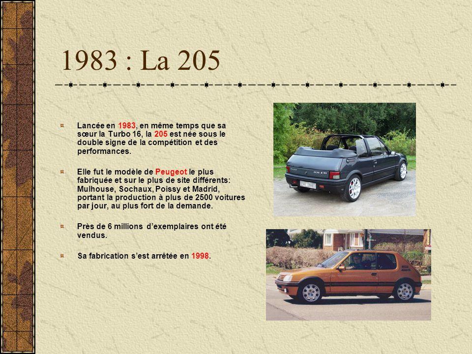 1983 : La 205 Lancée en 1983, en même temps que sa sœur la Turbo 16, la 205 est née sous le double signe de la compétition et des performances.