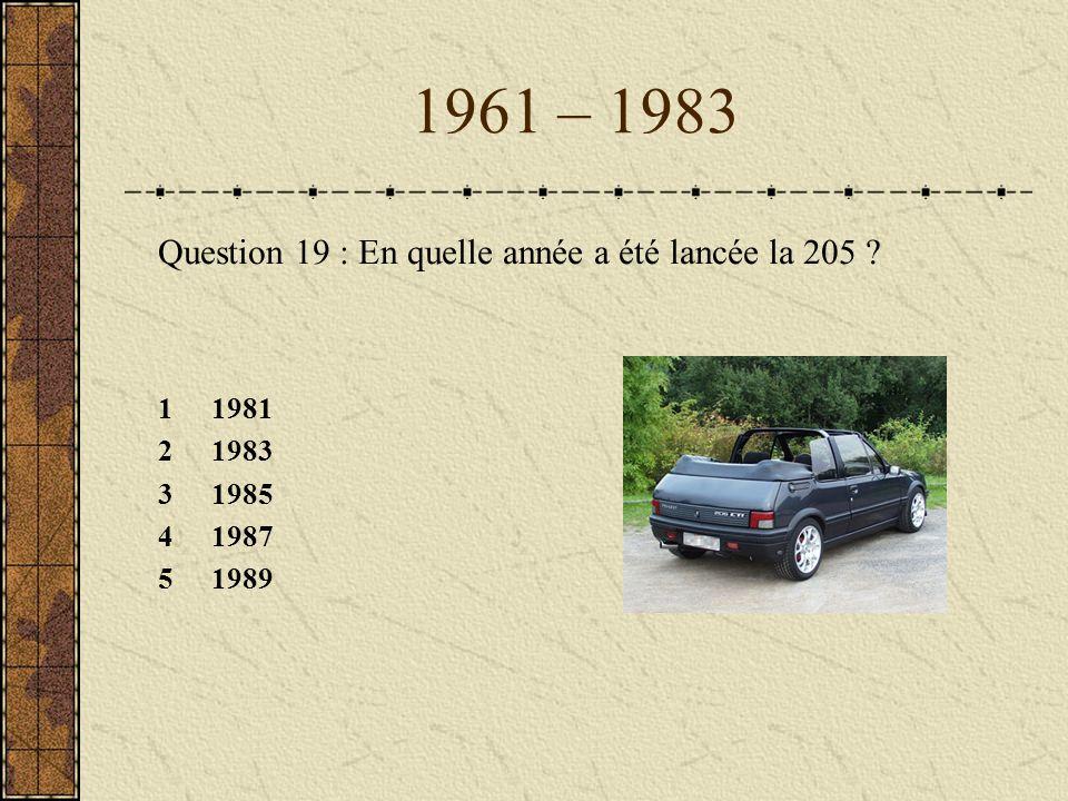 1961 – 1983 Question 19 : En quelle année a été lancée la 205 1 1981