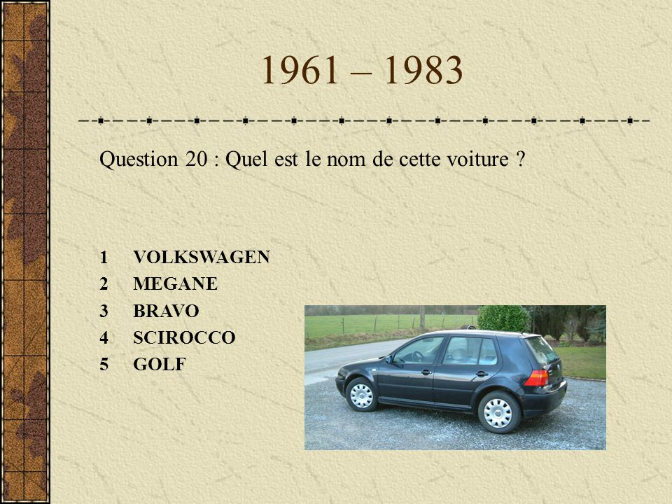 1961 – 1983 Question 20 : Quel est le nom de cette voiture