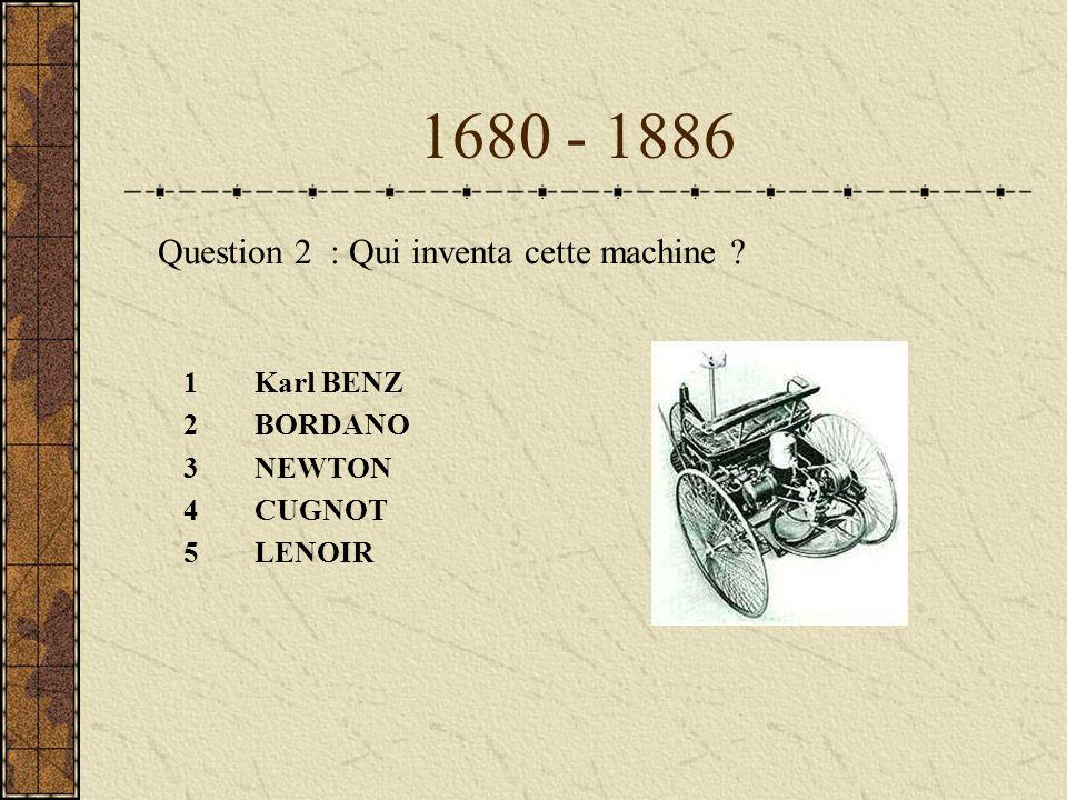 1680 - 1886 Question 2 : Qui inventa cette machine Karl BENZ BORDANO