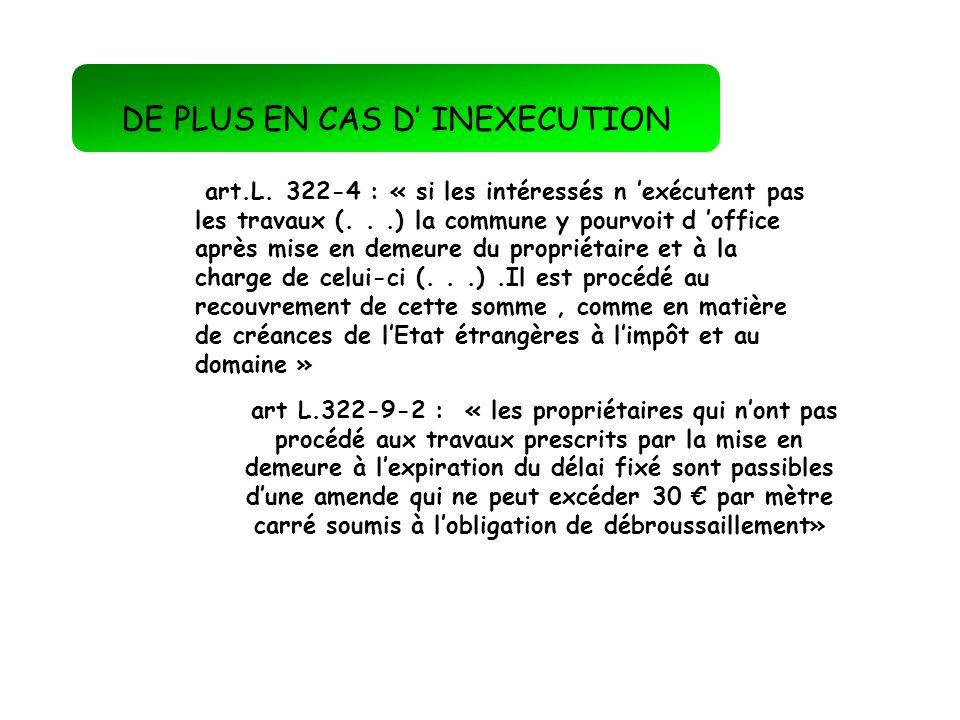 DE PLUS EN CAS D' INEXECUTION