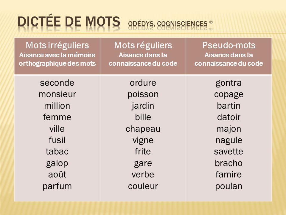 Dictée de mots Odédys, Cognisciences ©