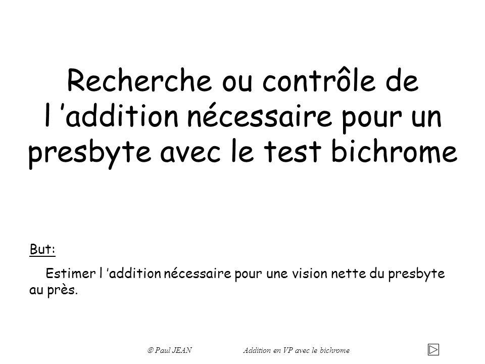 Recherche ou contrôle de l 'addition nécessaire pour un presbyte avec le test bichrome