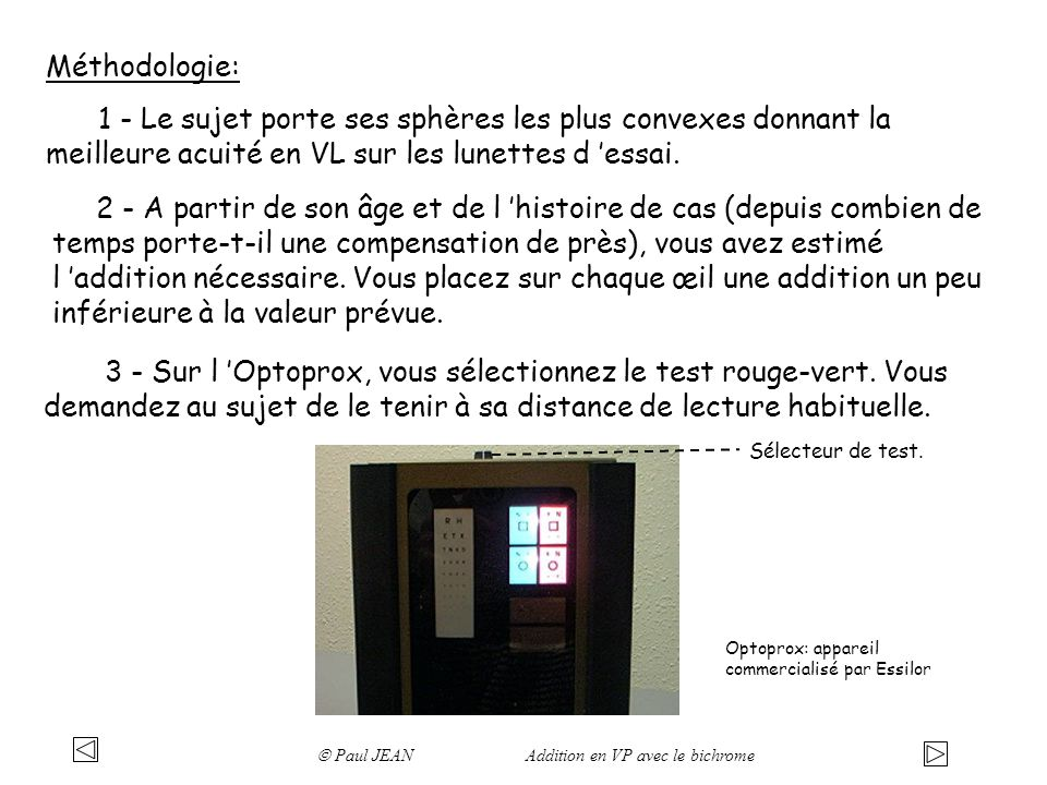 Méthodologie: 1 - Le sujet porte ses sphères les plus convexes donnant la meilleure acuité en VL sur les lunettes d 'essai.