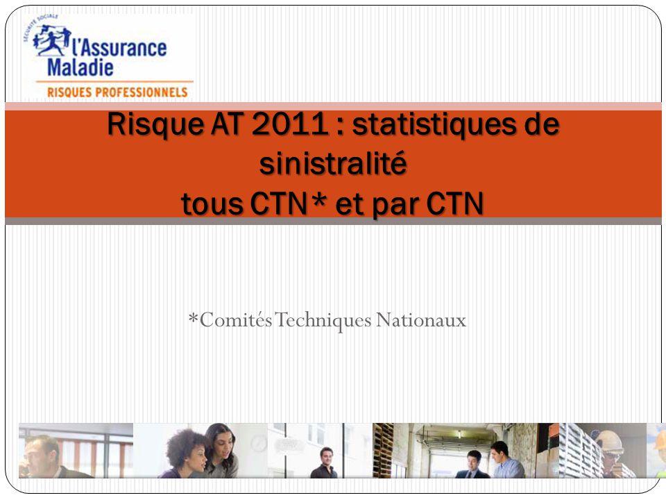 Risque AT 2011 : statistiques de sinistralité tous CTN* et par CTN