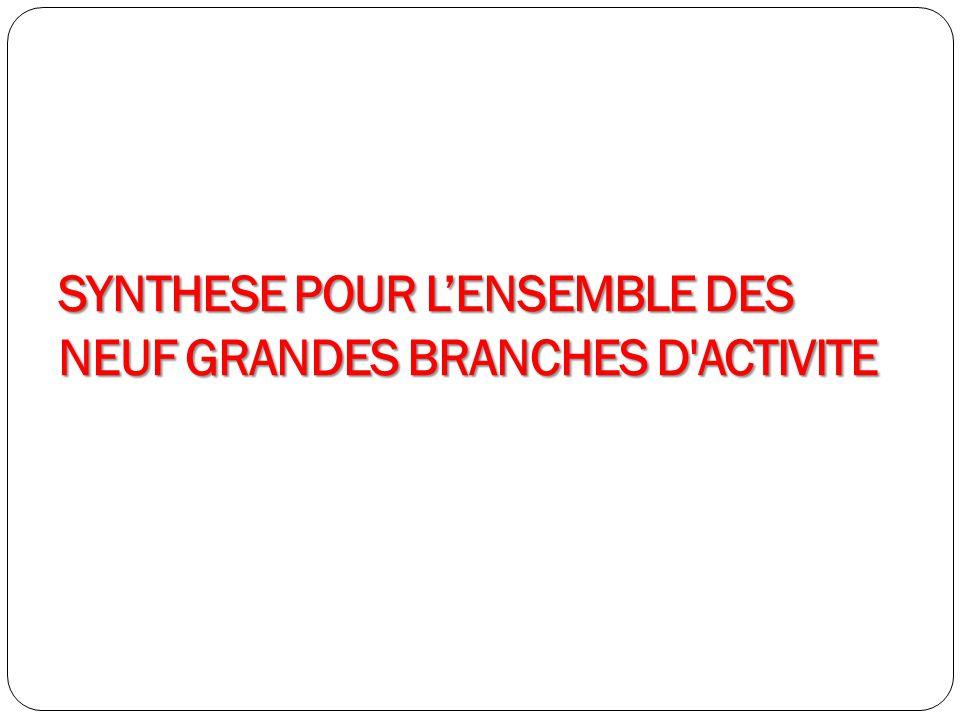 SYNTHESE POUR L'ENSEMBLE DES NEUF GRANDES BRANCHES D ACTIVITE