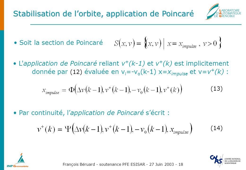 Stabilisation de l'orbite, application de Poincaré