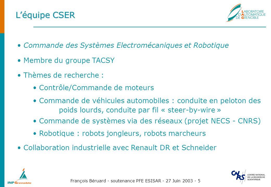 L'équipe CSER Commande des Systèmes Electromécaniques et Robotique