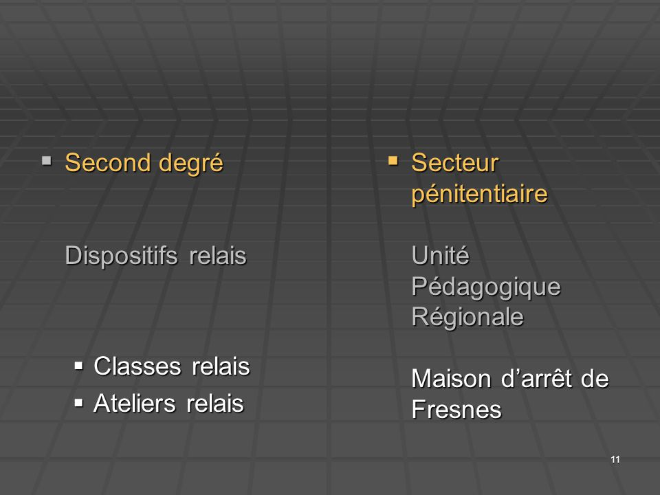 Second degré Dispositifs relais