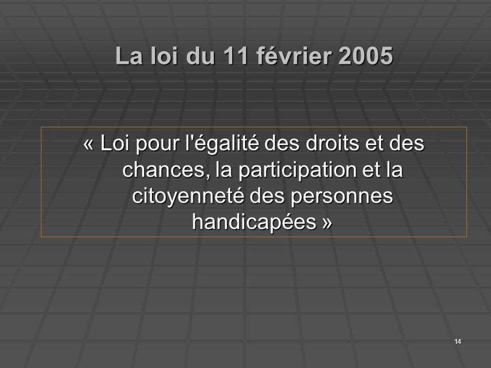 La loi du 11 février 2005 « Loi pour l égalité des droits et des chances, la participation et la citoyenneté des personnes handicapées »