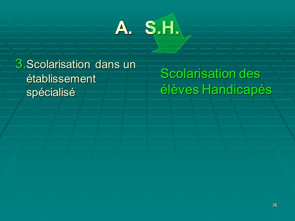 A. S.H. 3.Scolarisation dans un établissement spécialisé