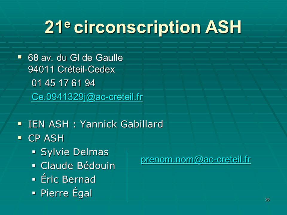 21e circonscription ASH 68 av. du Gl de Gaulle 94011 Créteil-Cedex