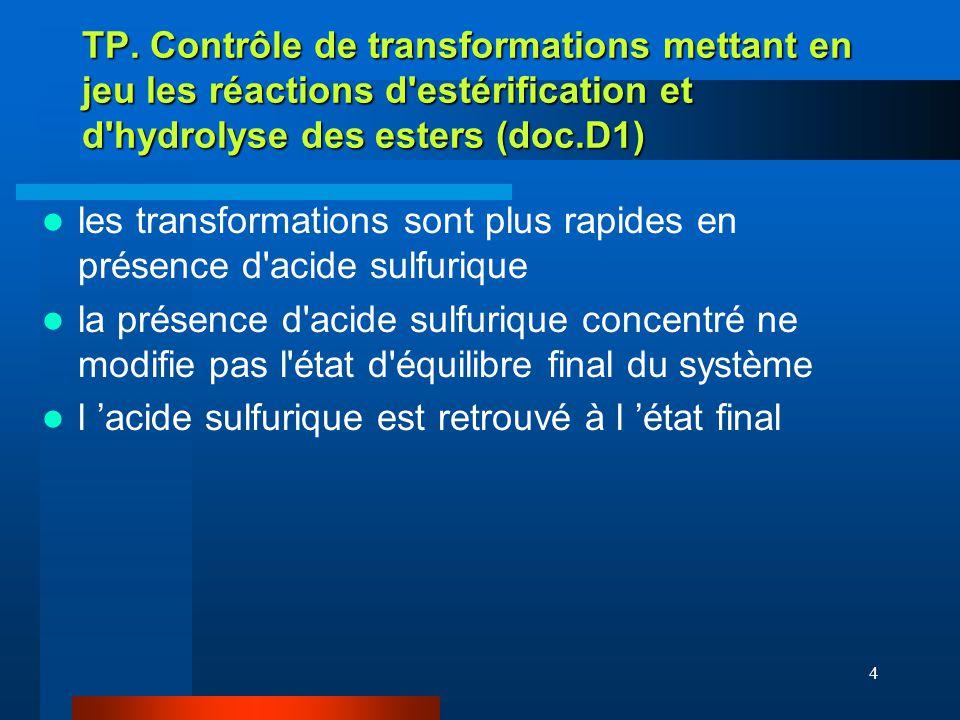 TP. Contrôle de transformations mettant en jeu les réactions d estérification et d hydrolyse des esters (doc.D1)