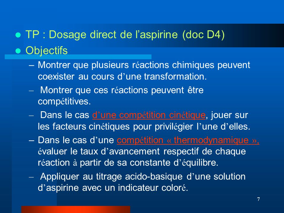 TP : Dosage direct de l'aspirine (doc D4) Objectifs