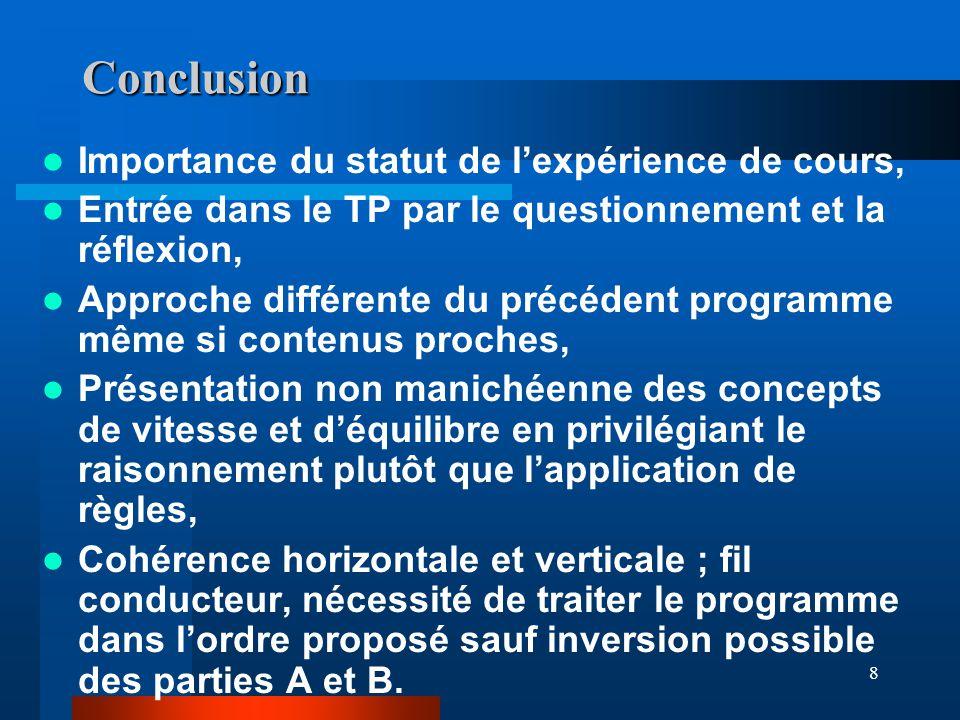 Conclusion Importance du statut de l'expérience de cours,