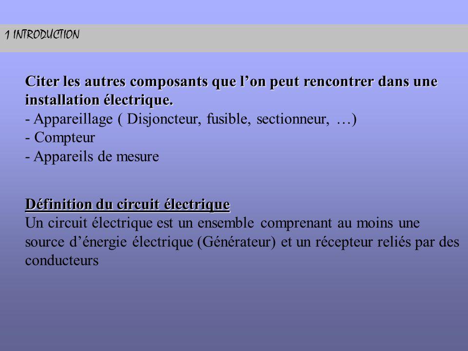 - Appareillage ( Disjoncteur, fusible, sectionneur, …) - Compteur