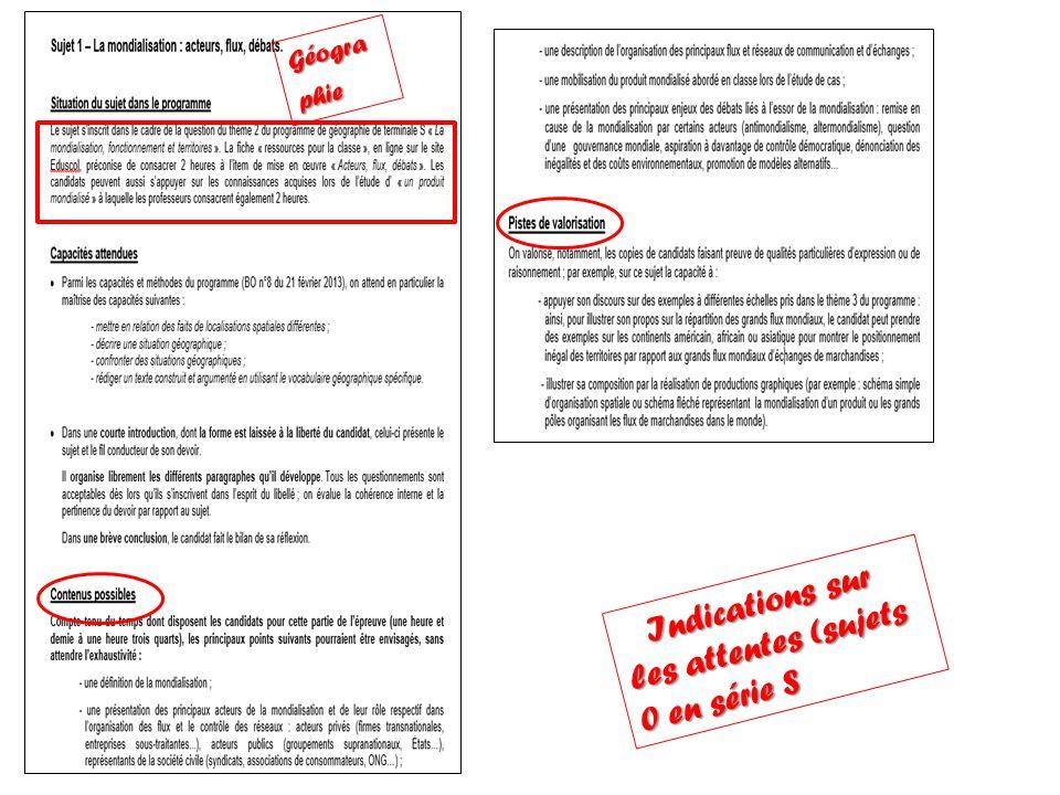 Indications sur les attentes (sujets 0 en série S