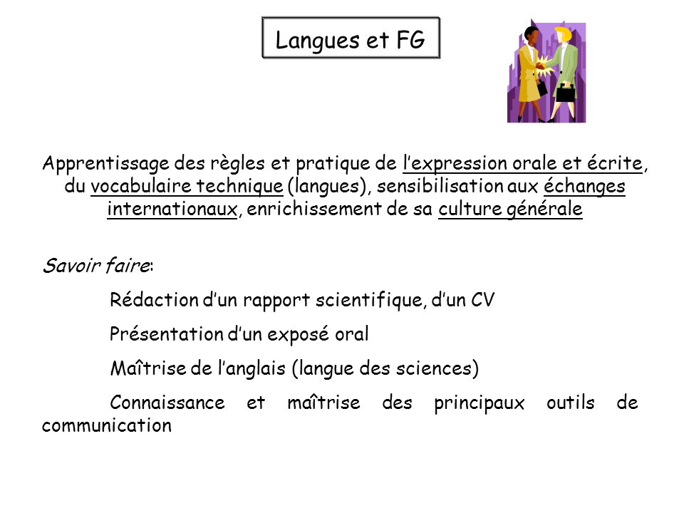 Langues et FG