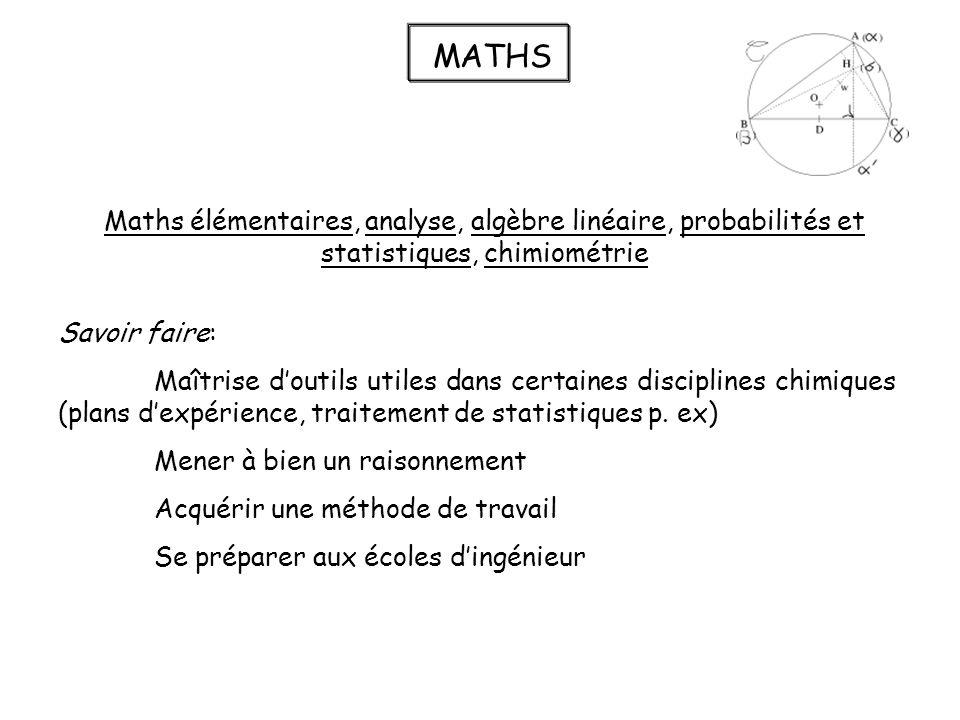 MATHS Maths élémentaires, analyse, algèbre linéaire, probabilités et statistiques, chimiométrie. Savoir faire: