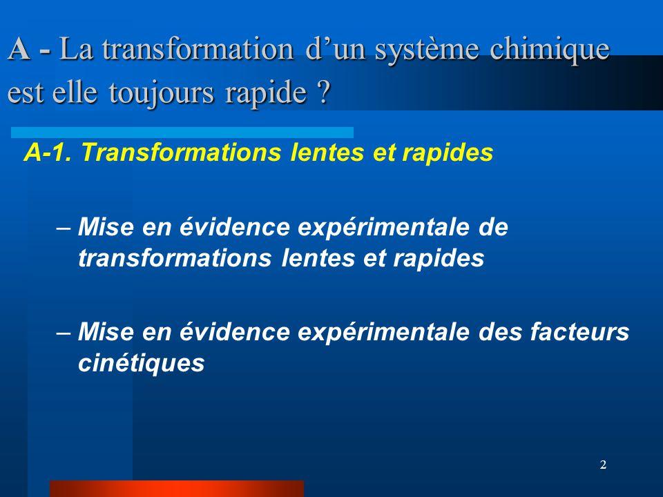 A - La transformation d'un système chimique est elle toujours rapide