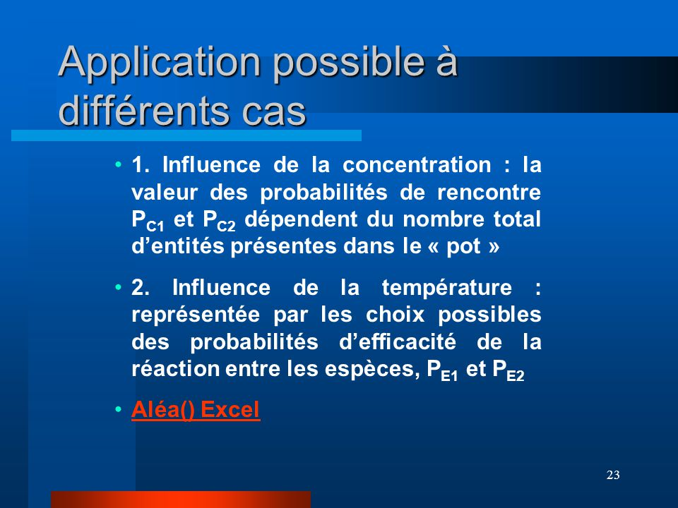 Application possible à différents cas