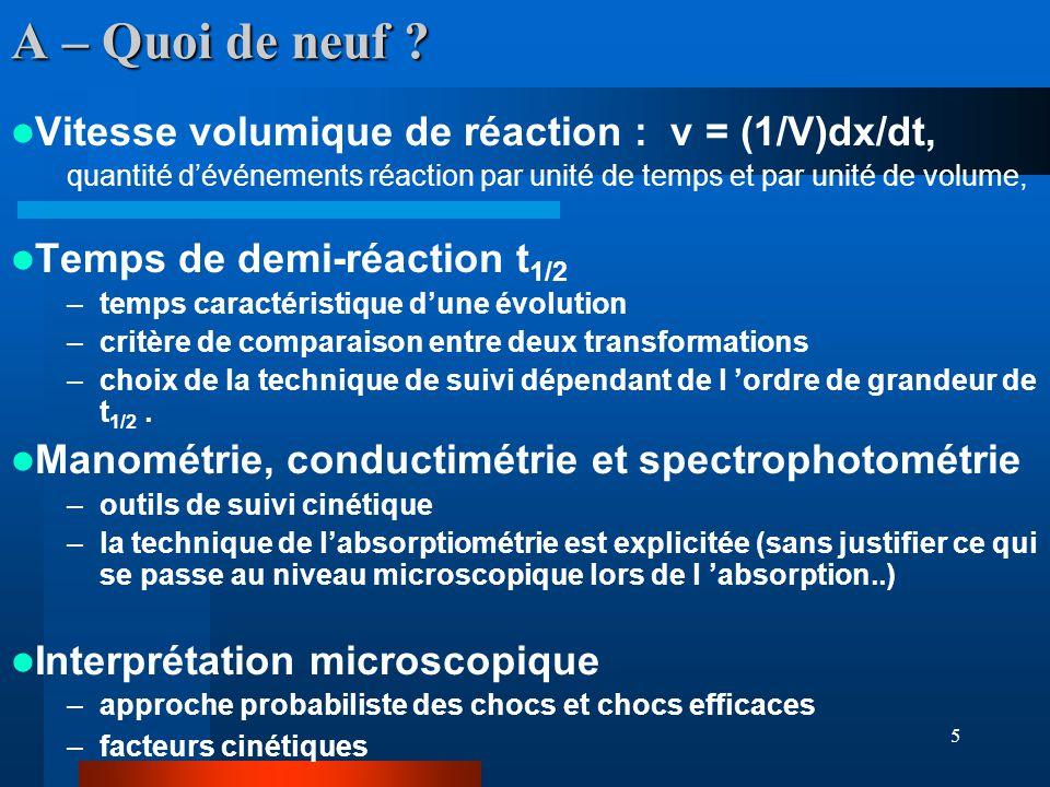 A – Quoi de neuf Vitesse volumique de réaction : v = (1/V)dx/dt,