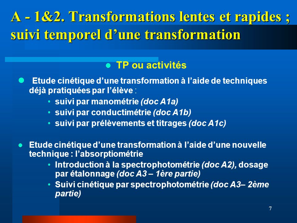 A - 1&2. Transformations lentes et rapides ; suivi temporel d'une transformation