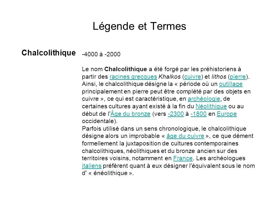 Légende et Termes Chalcolithique -4000 à -2000