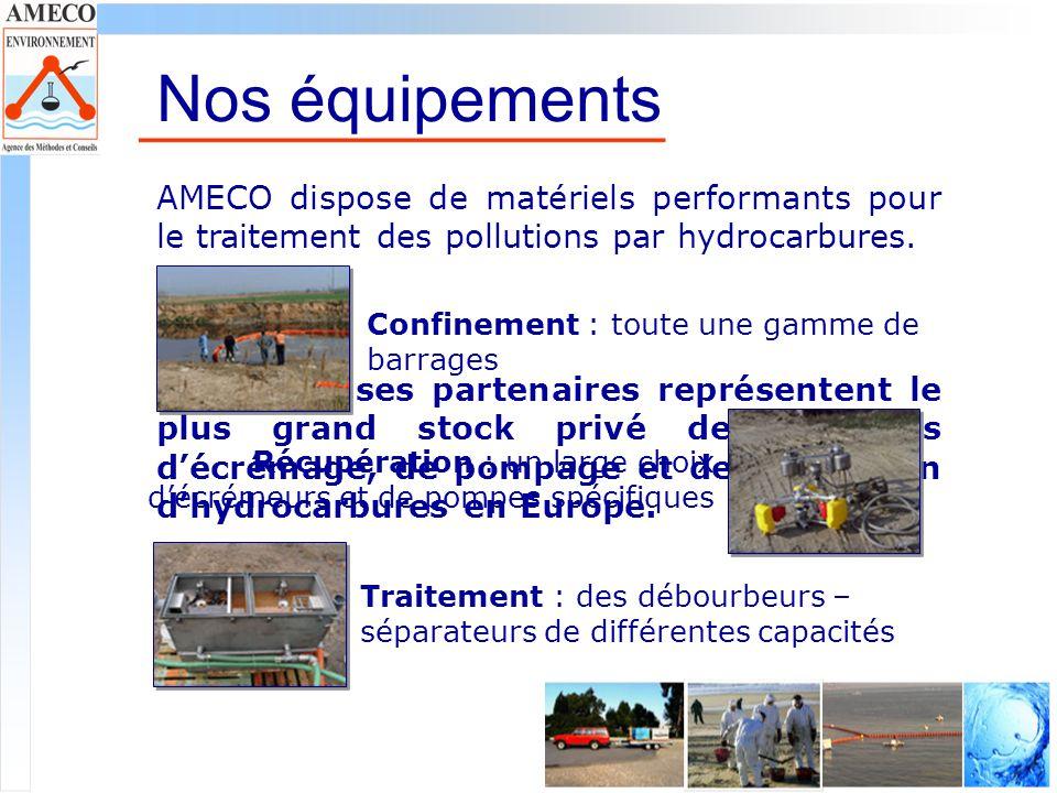 Nos équipements AMECO dispose de matériels performants pour le traitement des pollutions par hydrocarbures.