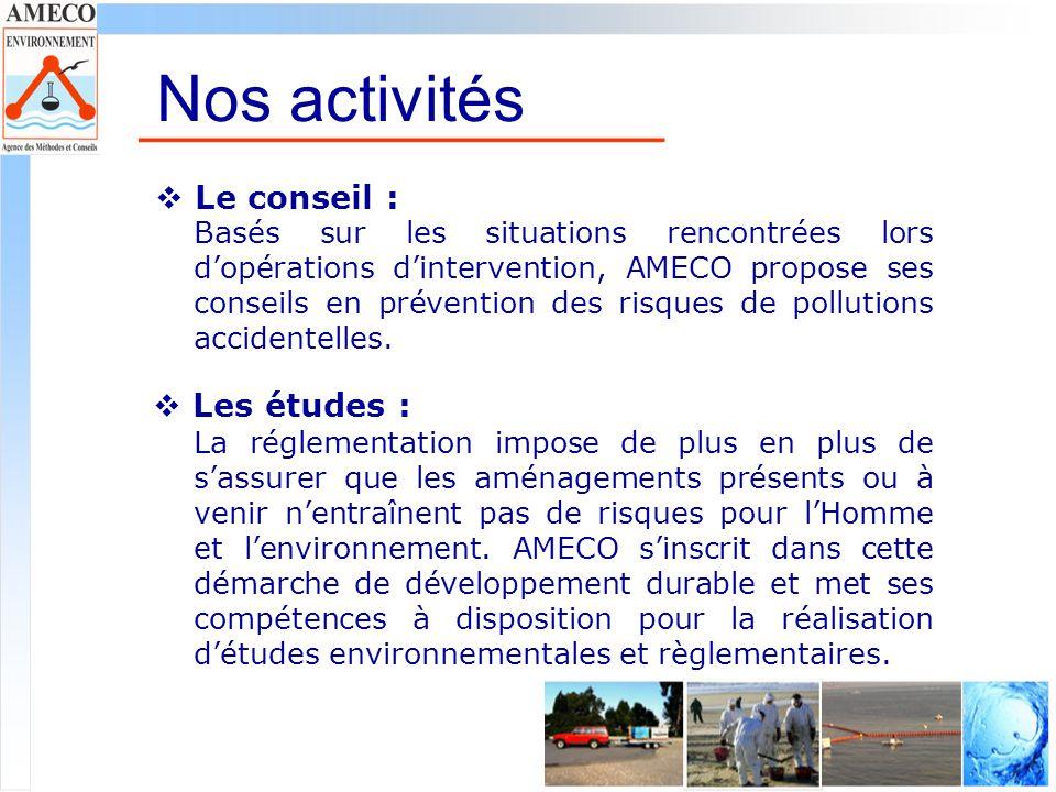 Nos activités Le conseil : Les études :