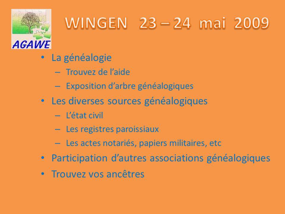 WINGEN 23 – 24 mai 2009 La généalogie