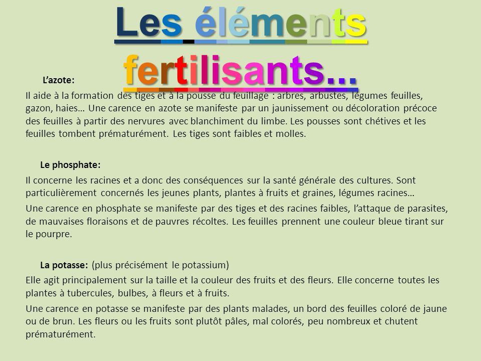 Les éléments fertilisants...