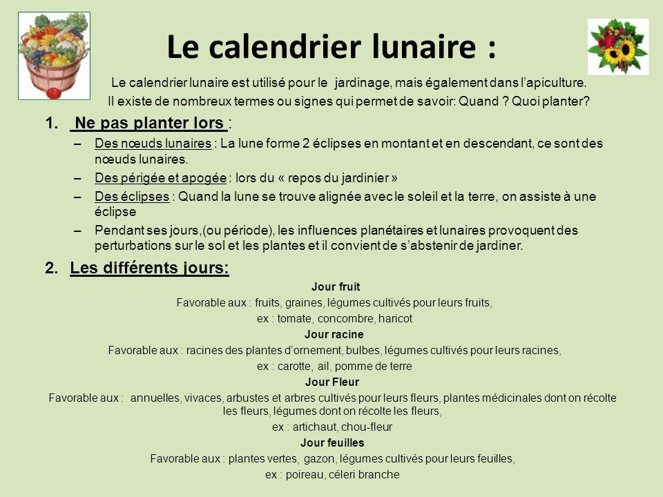 Le calendrier lunaire :
